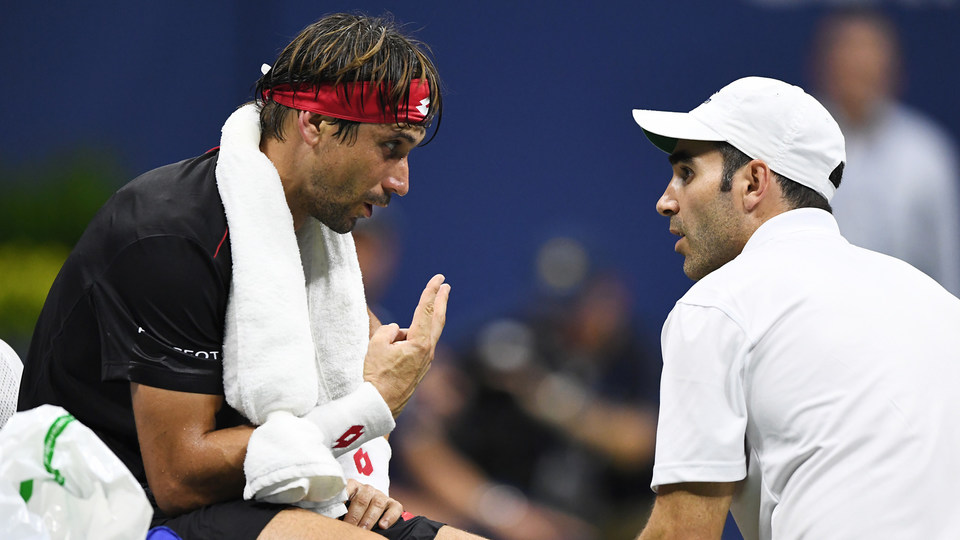 August 27, 2018 - David Ferrer takes a medical timeout during the 2018 US Open.