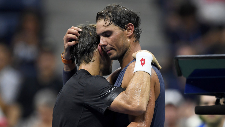 August 27, 2018 - Rafael Nadal and David Ferrer meet at net during the 2018 US Open.