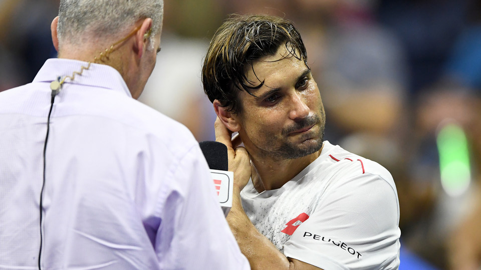 August 27, 2018 - David Ferrer during a post-match interview at the 2018 US Open.