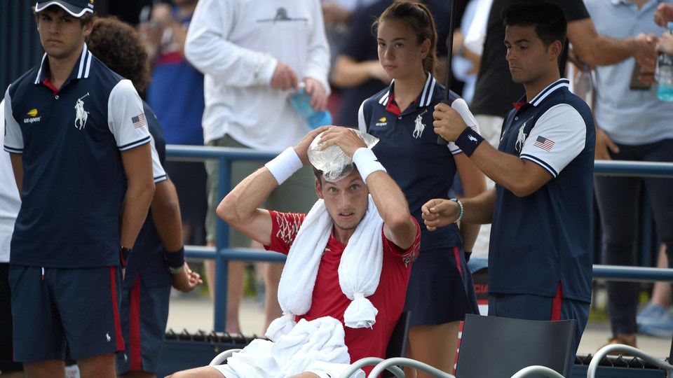 August 28, 2018 - Pablo Carreno Busta cools down during the match against against Malek Jaziri at the 2018 US Open.