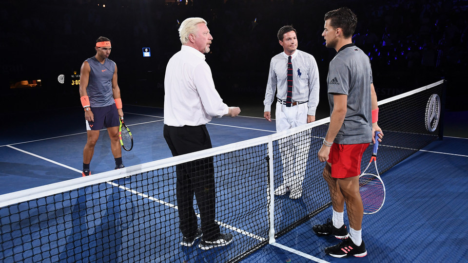September 4, 2018 - 1989 US Open Champion Boris Becker does the coin toss for the match between Rafael Nadal and Dominic Thiem during the 2018 US Open.
