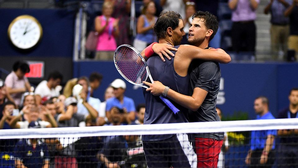 September 4, 2018 - Rafael Nadal and Dominic Thiem embrace after their match which lasted 4 hours 49 minutes during the 2018 US Open.