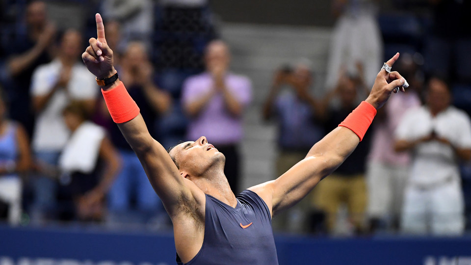 September 4, 2018 - Rafael Nadal reacts to winning against Dominic Thiem during the 2018 US Open.