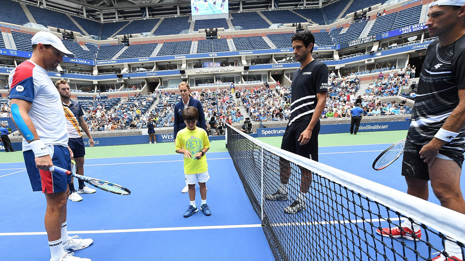 September 7, 2018 - A Net Generation kid participates in the ceremonial coin toss with Jack Sock, Mike Bryan, Lukasz Kubot and Marcelo Melo prior to the men's doubles final at the 2018 US Open.