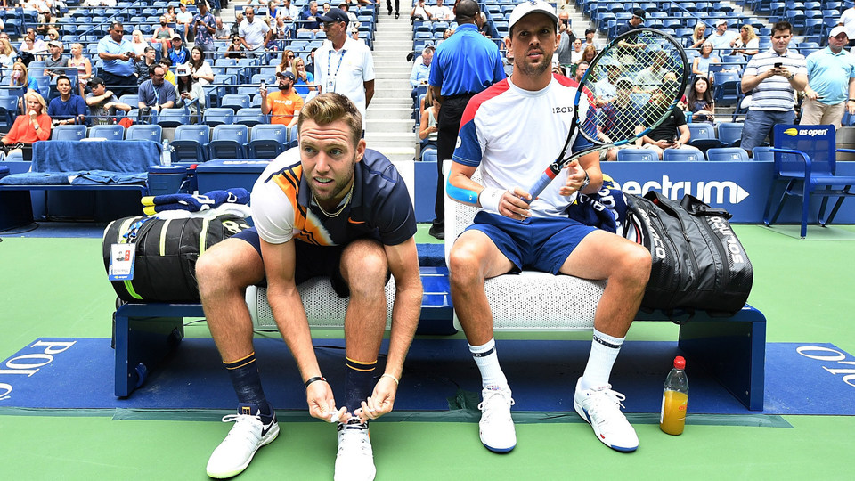 September 7, 2018 - Jack Sock and Mike Bryan sit on the player bench prior to their match against Lukasz Kubot and Marcelo Melo in the men's doubles final at the 2018 US Open.