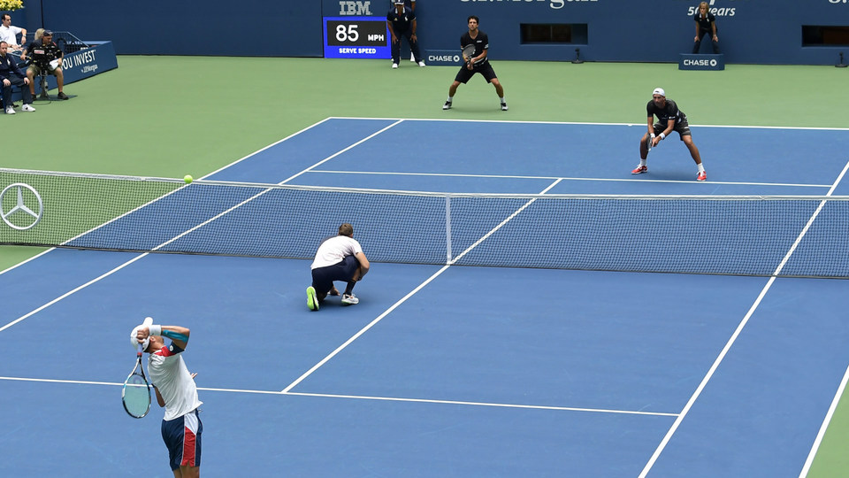 September 7, 2018 - Jack Sock and Mike Bryan in action against Lukasz Kubot and Marcelo Melo in the men's doubles final at the 2018 US Open.