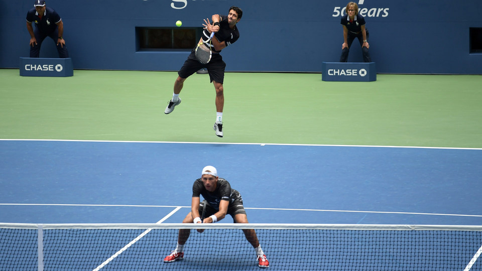 September 7, 2018 - Lukasz Kubot and Marcelo Melo in action against Mike Bryan and Jack Sock in the men's doubles final at the 2018 US Open.