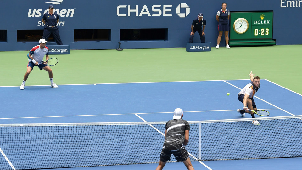 September 07, 2018 - Jack Sock and Mike Bryan in action against Lukasz Kubot and Marcelo Melo in the men's doubles final at the 2018 US Open.