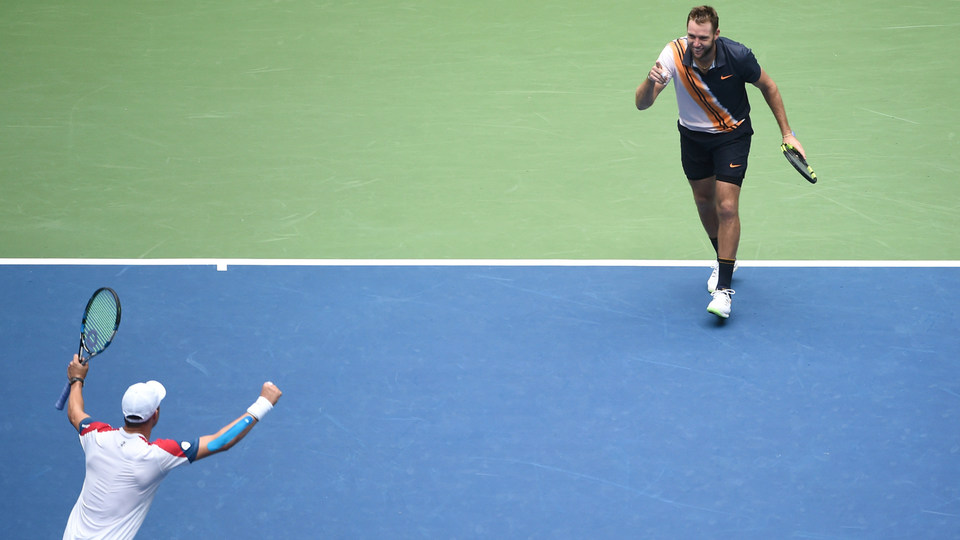 September 07, 2018 - Jack Sock and Mike Bryan celebrate after defeating Lukasz Kubot and Marcelo Melo in the men's doubles final at the 2018 US Open.