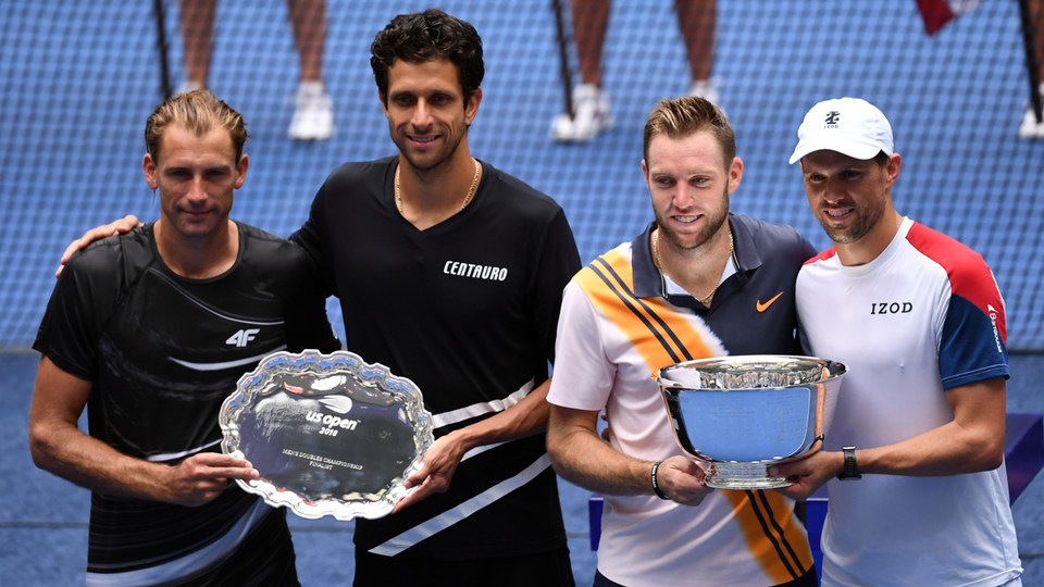 September 7, 2018 - Finalists Lukasz Kubot and Marcelo Melo and 2018 US Open Menís Doubles Champions Mike Bryan and Jack Sock.