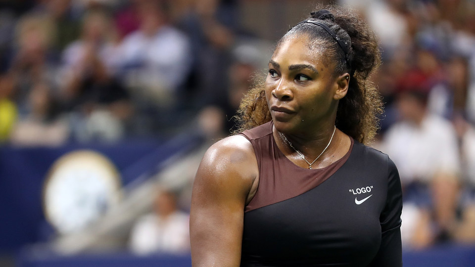 September 8, 2018 - Serena Williams in action against Naomi Osaka in the women's singles final at the 2018 US Open.
