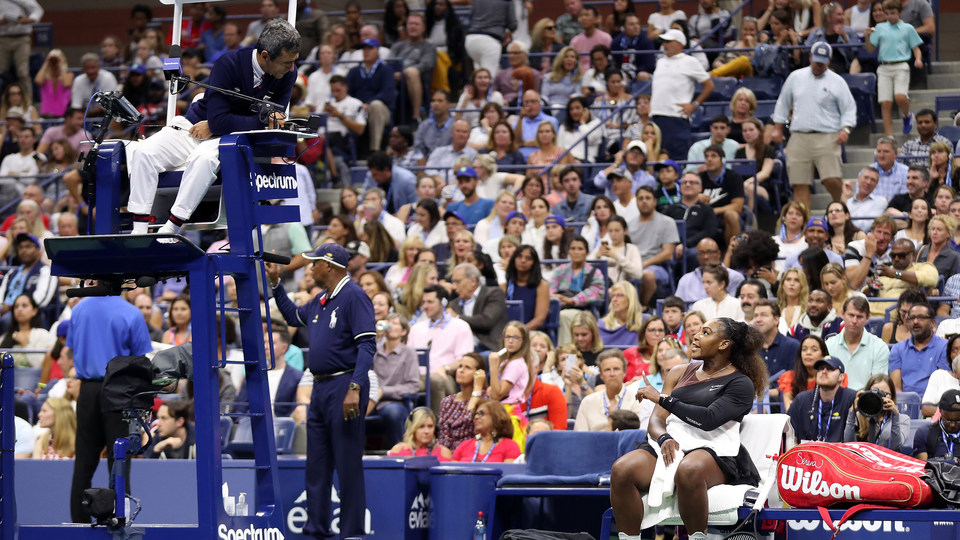 September 8, 2018 - Serena Williams speaks to the chair umpire during a break in her match against Naomi Osaka in the women's singles final at the 2018 US Open.