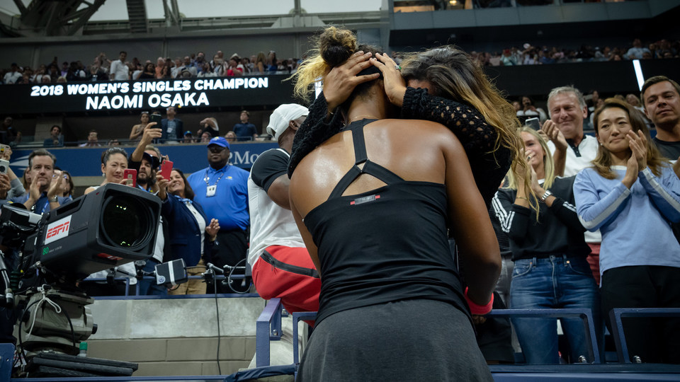 September 8, 2018 - 2018 US Open Women's Singles Champion Naomi Osaka hugs her mother after her victory.